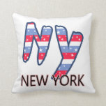 NY - New York Quote Red White and Blue Pillows
