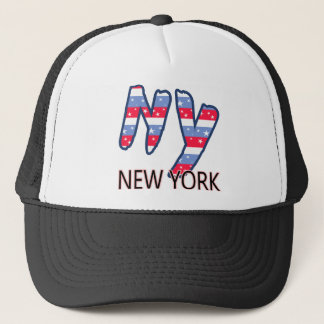 NY - New York Quote Red White and Blue Trucker Hat