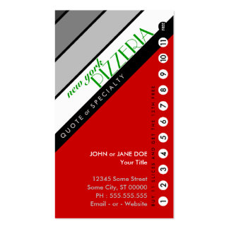 NY PIZZERIA punchcard : (buy 11 get 1 free) Double-Sided Standard Business Cards (Pack Of 100)