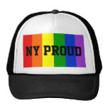 NY Proud Gay Rainbow Flag Ball Cap Trucker Hat