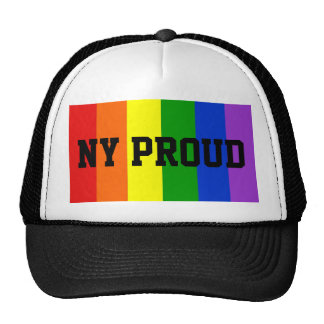 NY Proud Gay Rainbow Flag Ball Cap Trucker Hat