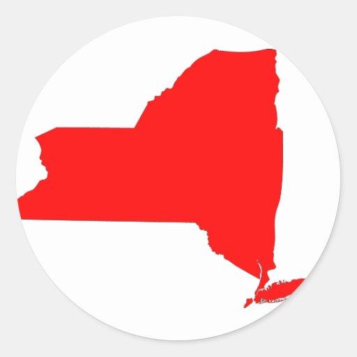 NY un estado rojo Pegatina Redonda