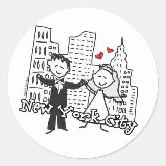 NY Wedding Classic Round Sticker