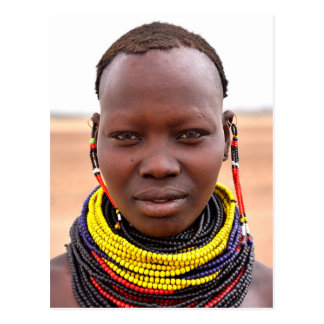 Nyangatom woman wearing beaded necklaces post card