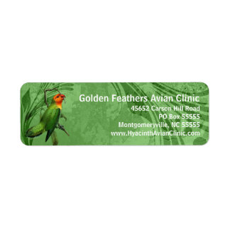 Nyasa Lovebird Parrot with Green Abstract Label