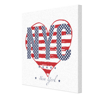 NYC American Flag Heart Canvas Print