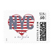 NYC American Flag Heart Postage