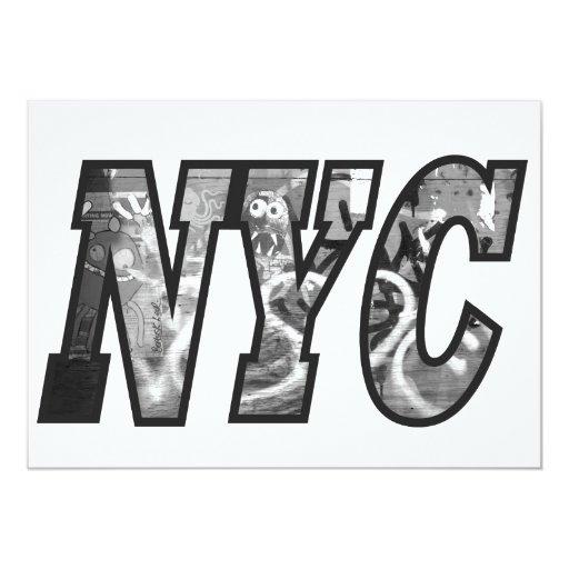 NYC and a Graffiti wall in Brooklyn, New York City 5x7 Paper Invitation Card