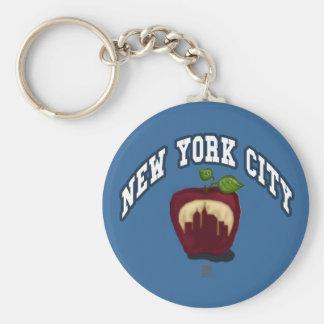 NYC apple Basic Round Button Keychain