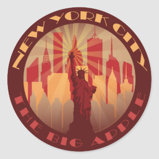 NYC Apple grande caliente Pegatina Redonda