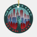 NYC Apple grande redondo Adorno De Navidad