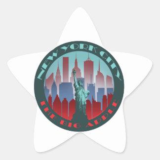 NYC Apple grande redondo Colcomanias Forma De Estrella Personalizadas