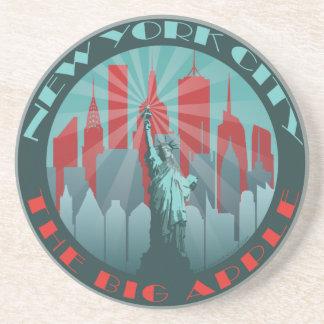 NYC Big Apple Round Drink Coaster