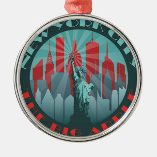 NYC Big Apple Round Metal Ornament