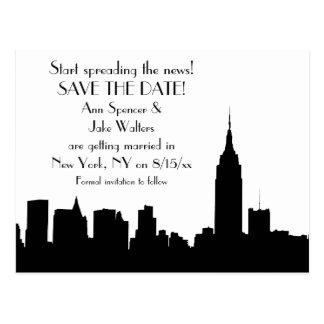 NYC Black Skyline Silhouette Save the Date Postcard
