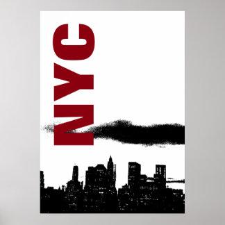 NYC Black White Manhattan Silhouette Pop Art Poster