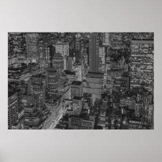 NYC Black White New York City Skyline Poster