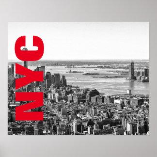 NYC Black White Red New York City Skyline Poster
