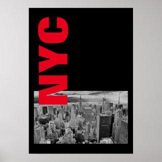 NYC Black White Red Vintage Manhattan Poster