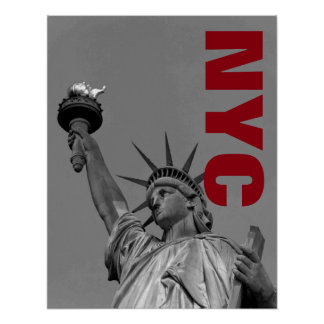 NYC Black White Statue of Liberty Art Photograph Poster