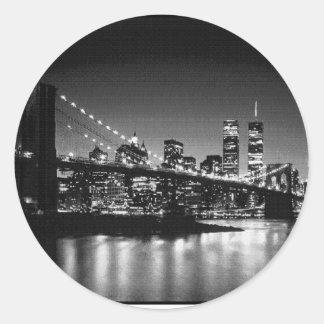 NYC blanco y negro Pegatina Redonda