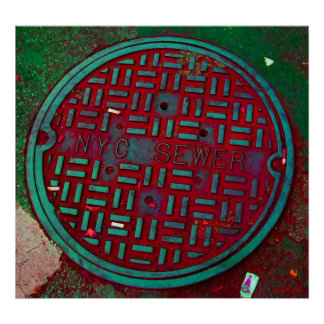 NYC Broadway Street Manhole Cover Art Print