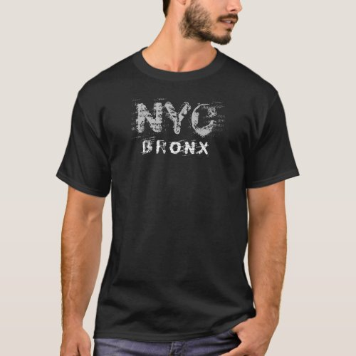 Nyc Bronx Text Stoned Wash Look New York City T_Shirt