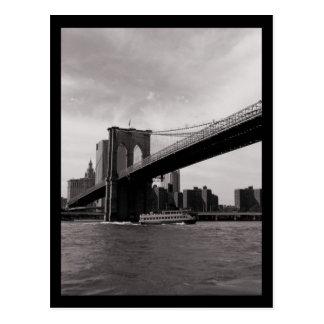 NYC Brooklyn Bridge B&W Post Card