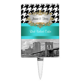 NYC Brooklyn Bridge Blk Wht Houndstooth Teal Rectangle Cake Pick