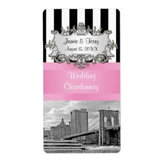 NYC Brooklyn Bridge Blk Wht Stripe Pink Wine Label Shipping Label