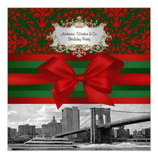 NYC Brooklyn Bridge Red & Green Damask #3 Xmas Pty Announcements