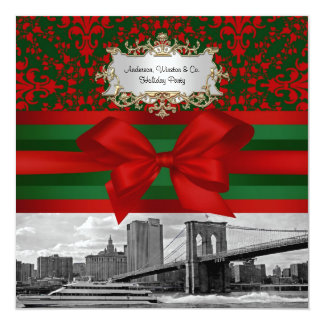 NYC Brooklyn Bridge Red & Green Damask #3 Xmas Pty 5.25x5.25 Square Paper Invitation Card