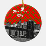 NYC Brooklyn Bridge Red Grn Quatrefoil Xmas Double-Sided Ceramic Round Christmas Ornament