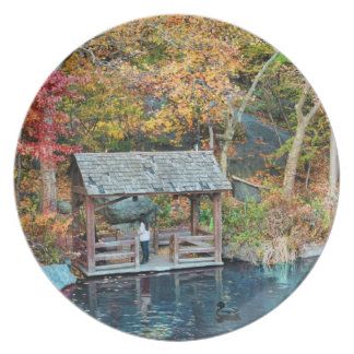 NYC Central Park Autumn, The Lake & Little Dock Dinner Plates
