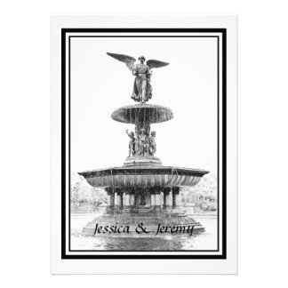 NYC Central Park Bethesda Fountain DIY Wedding Invitations