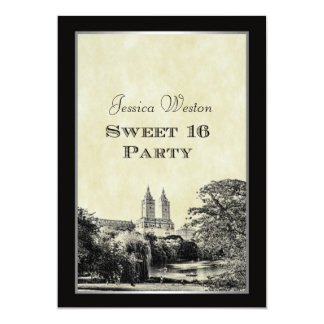 NYC Central Park Lake San Remo Etched Frm Sweet 16 5x7 Paper Invitation Card