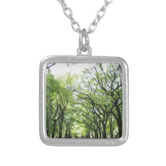 NYC Central Park Tree Tunnel Square Pendant Necklace