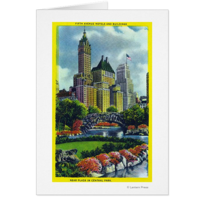 NYC Central Park View of 5th Ave Hotels Card
