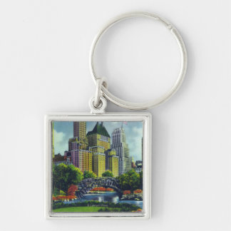 NYC Central Park View of 5th Ave Hotels Keychain