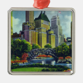 NYC Central Park View of 5th Ave Hotels Square Metal Christmas Ornament