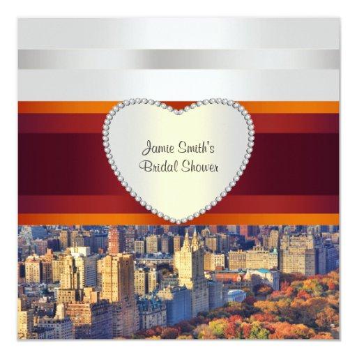 "NYC Central Park West H Bridal Shower Invite 5.25"" Square Invitation Card"
