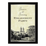 NYC Central Pk Lake San Remo Etched Frm Engagement 5x7 Paper Invitation Card