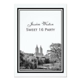 NYC Centrl Pk Lake San Remo Etch SQ Sweet 16 Party Card