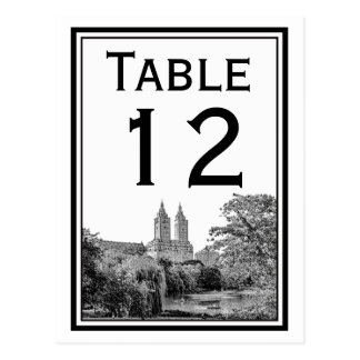 NYC Centrl Pk Lake San Remo Etch Table Number Card