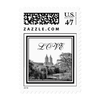 NYC Centrl Pk Lake San Remo Etchd LOVE Stamp small