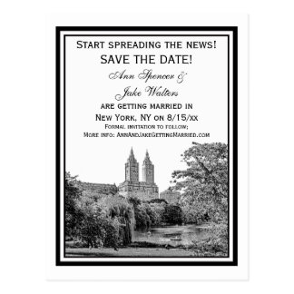 NYC Centrl Pk Lake San Remo Etchd SQ Save the Date Postcard