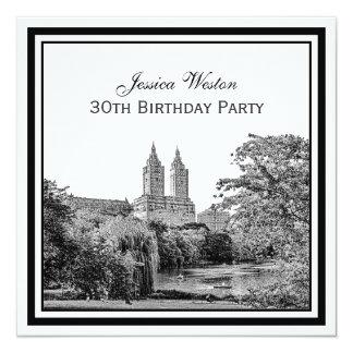 NYC Centrl Pk Lake San Remo Etched SQ Birthday Pty Card