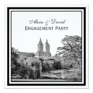 NYC Centrl Pk Lake San Remo Etched SQ Engagement Card