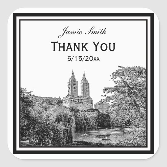 Nyc centrl pk lake san remo etched sq thank you square sticker