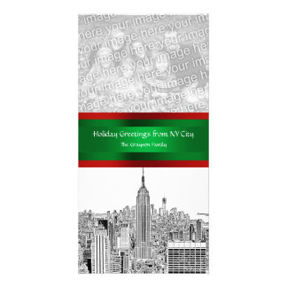 NYC Christmas Etched ESB Skyline, Your Photo Photo Card
